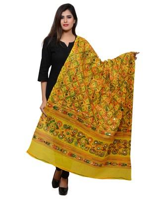 Women's Pure Cotton Aari Embroidery & Foil Mirrors Dupatta (Rasna) Lemon Yellow - RSN08