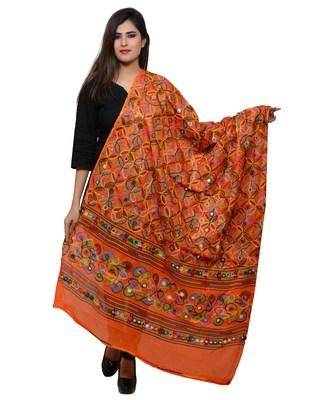 Women's Pure Cotton Aari Embroidery & Foil Mirrors Dupatta (Rasna) Tangy Orange - RSN11