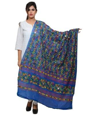 Women's Pure Cotton Aari Embroidery & Foil Mirrors Dupatta (Rasna) Blue - RSN12