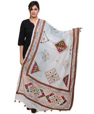 Women's Pure Cotton Real Mirrorwork & Hand Embroidery Dupatta (Kutchi Trikon) White - TKN02
