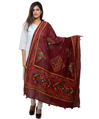 Women's Pure Cotton Real Mirrorwork & Hand Embroidery Dupatta (Kutchi Trikon) Maroon - TKN04