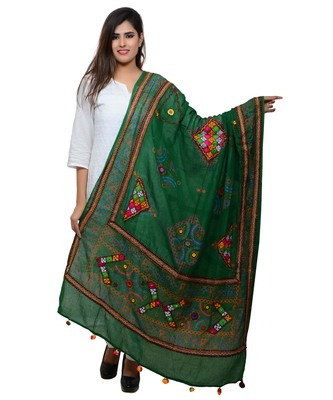 Women's Pure Cotton Real Mirrorwork & Hand Embroidery Dupatta (Kutchi Trikon) Dark Green  - TKN05