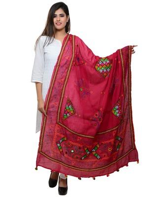 Women's Pure Cotton Real Mirrorwork & Hand Embroidery Dupatta (Kutchi Trikon) Pink - TKN09