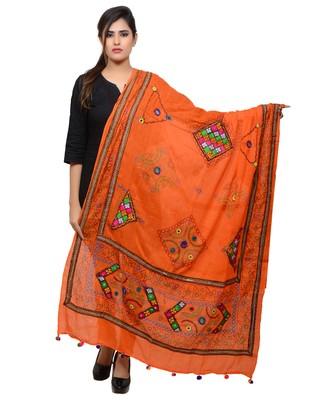 Women's Pure Cotton Real Mirrorwork & Hand Embroidery Dupatta (Kutchi Trikon) Tangy Orange - TKN11