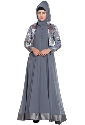 grey plain nida abaya