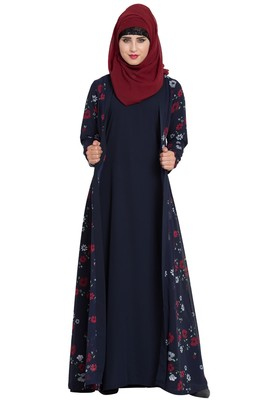 navy blue plain nida abaya