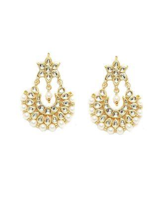 Gold Plated Kundan Chandbali Earrings For Women & Girls
