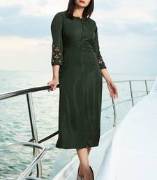 Olive embroidered satin kurti