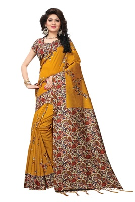 Mustard printed silk saree with blouse