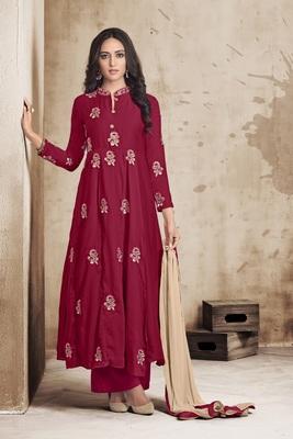 Dark-red embroidered silk salwar with dupatta