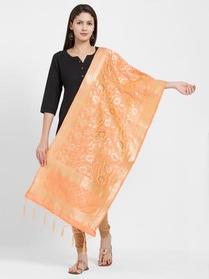 Orange woven Art silk Dupatta