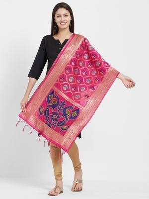 Pink woven Art silk Dupatta
