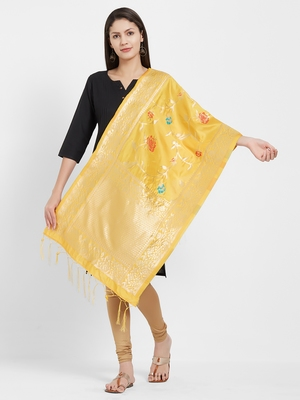 Yellow woven Art silk Dupatta