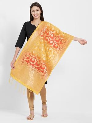 Yellow woven Art silk Dupatta