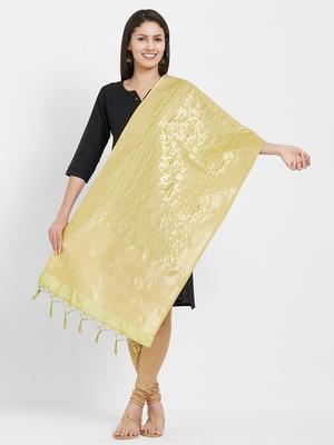 Green woven Art silk Dupatta