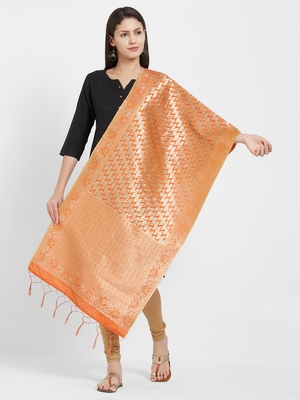 Orange woven Art silk Dupatta