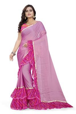 Pink Printed Chiffon Ruffle Saree With Blouse