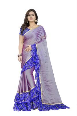 Blue printed chiffon ruffle saree with blouse