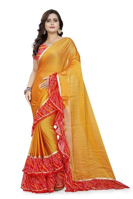 Yellow printed chiffon ruffle saree with blouse
