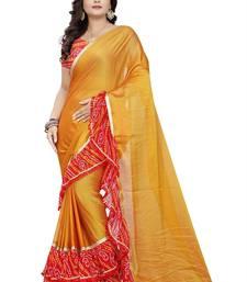 Yellow Printed Chiffon Ruffle Saree With Blouse