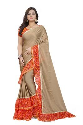 Beige printed chiffon ruffle saree with blouse