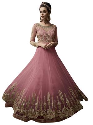 Pink embroidered net salwar with dupatta