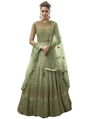 Green embroidered net salwar with dupatta