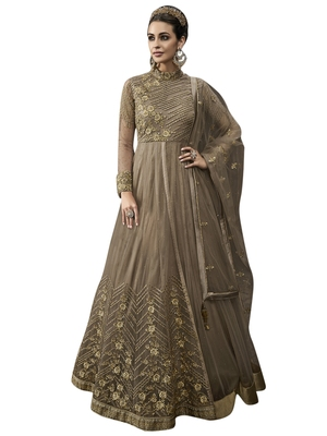 Brown embroidered net salwar with dupatta
