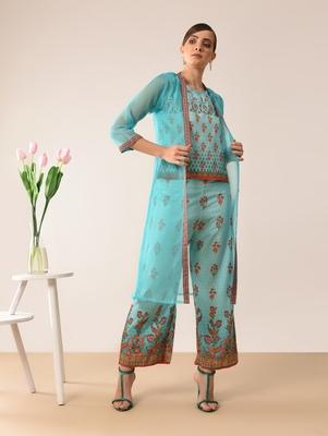 turquoise printed cotton kurta-sets