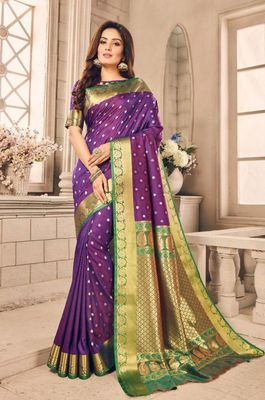 Purple woven silk blend saree with blouse