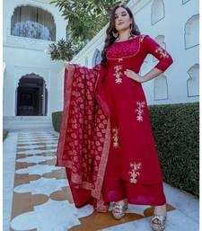 maroon cotton floral print kurta set