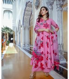 pink cotton floral print kurta set