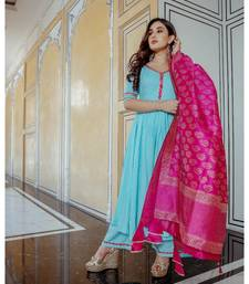 turquoise plain rayon kurta set
