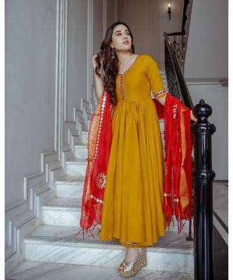 yellow plain rayon kurta set