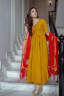 bf9db1e9bf Yellow Kurti Online | Buy Plain Yellow Kurtis with Embroidery Neck ...
