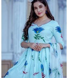 turquoise floral print cotton kurta set
