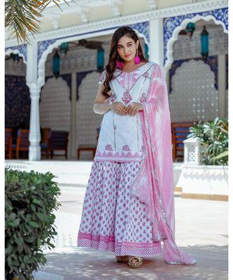 white floral print cotton kurta set