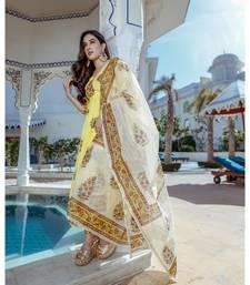 yellow floral print cotton kurta set