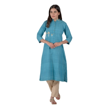 Turquoise Blue Designer Kurta With Beautiful Mirror Work