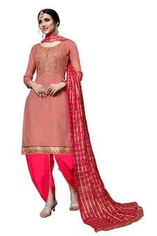 e6fb342aa7 Coral Cotton Resham Embroidery & Gota Patti Lace Doti Botton Unstitched Suit.  Shop Now