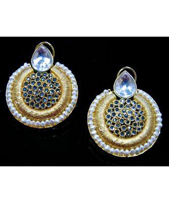 Ethnic Polki Matte Gold Dangler Earrings