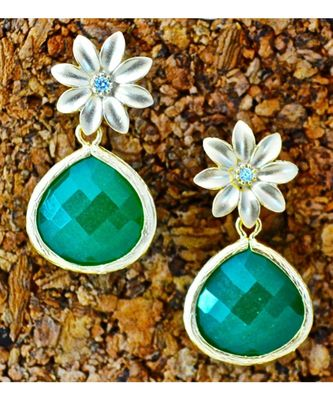 Green Onyx Drop with Floral Stud Dangler Earrings