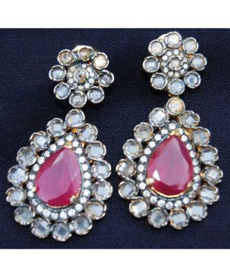 Ruby Drop Dangler Earrings