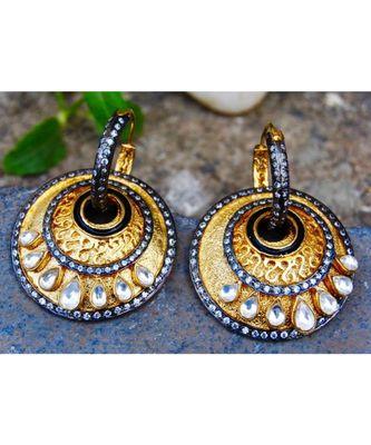 Overlay Gold Victorian Edged Dangler Earrings