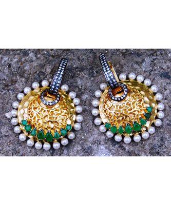 Overlay Emerald Dangler Earrings