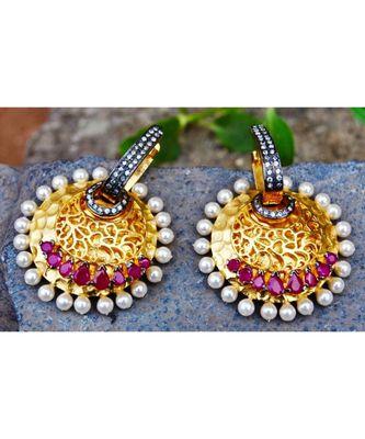 Overlay Ruby Dangler Earrings