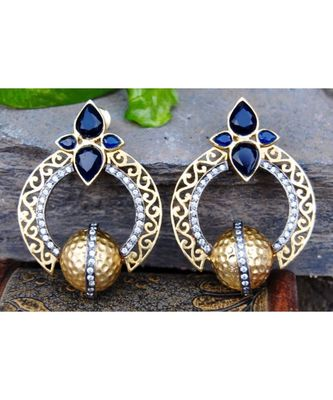 Designer Black Gold Dangler Earrings