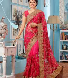 Pink Georgette Net Saree embroidered saree with blouse