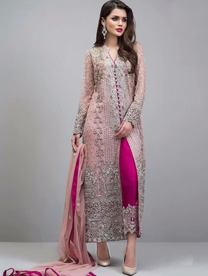 036f187673 Light Pink Designer Heavy Embroidery Georgette Pakistani Style Indian Suit  Semi stitched