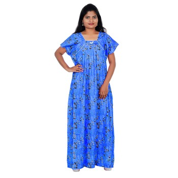 Blue and Grey colour Leaf Design Printed Square Neck Cotton Nighty For Ladies Nightwear